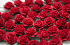 100 Cute Handmade Mulberry Paper Roses - 10mm - Romantic Red Rose Embellishment!