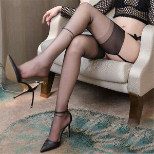 5D Sheer Retro Pure Nylon No elastic Sexy Thin Thigh High Stockings Vintage Long