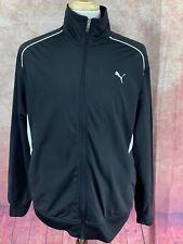 Puma USP Full Zip Track Jacket Black w/ White Trim Side PocketsMen's XL