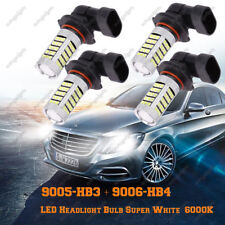 Combo 9005-HB3 & 9006-HB4 LED Headlight Bulb Super White 63-SMD 6000K Hi/Lo Beam