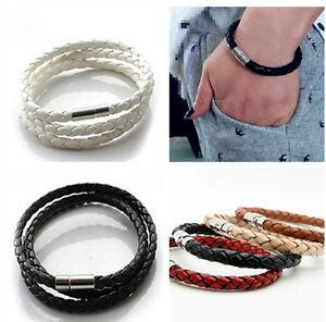 Men's Women Genuine Braided Leather Steel Magnetic Clasp Cool Bracelet