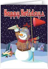 Snowman Airplane Theme Christmas Card - 18 Cards & Envelopes -  80019