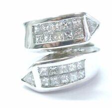 18Kt Princess & Trillion Cut Diamond ByPass White Gold Jewelry Ring 1.26Ct