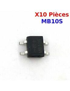 x10 Pont redresseur SOP-4 SMD, Série MB 10S, MB10S 0,5A 1000V 7457Z