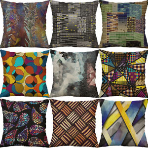 "18"" Cotton Linen geometric Striped Print pillow case Cushion Cover Home Decor"
