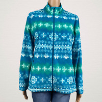 T By Talbots Snowflake Stripe Zip Up Soft Fleece Jacket LARGE Petite Blue Green