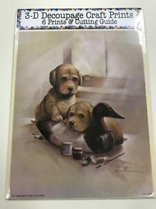 """'Two Little Pups Playing"""" Set of 6 Prints and Cutting Guide for Decoupage"""