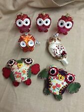 NEW Mixed Lot of 7 Owls Birds Christmas Ornaments & Decor
