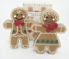 """Vintage Gingerbread Boy and Girl Figural Candles w Box 4"""" Tall Darling"""
