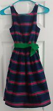 Ralph Lauren Girls Size 12 Lined Dress Navy Blue Stripe Green Tie Waist NWT
