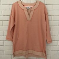 Liz Claiborne Weekend Casual Sweatshirt Tunic Top Striped Coral V Neck Large