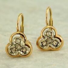Yellow Gold Earrings with Diamonds Style Antique and Vintage Womens Ladies