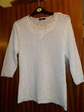 Bm Collection White Jumper With Lace Detail Size M Clean and Tidy Condition