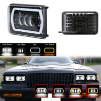 """4""""X6"""" Square White LED Headlight High/Low Beam+DRL for Jeep Truck 4X4 Offroad"""