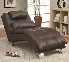 Settee Chaise Lounge Chair Recliner Brown Modern Synthetic Leather Dressing Room
