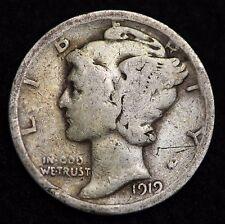 1919-S MERCURY DIME / CIRCULATED GRADE GOOD / VERY GOOD 90% SILVER COIN