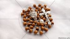 CATHOLIC rosary WHITE PEARL OLIVE WOOD prayer SILVER cross HOLY LAND