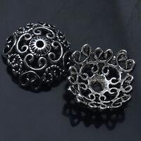 6/12/30/60 Pcs Bali Style Flowers Tibetan Silver Jewelry Finding Bead Cap