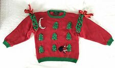 Christmas Sweater Raquel's Collection Handmade Peru Pullover 3D Santa Bows Small