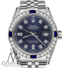 Rolex 31mm Datejust Navy Blue Dial with Sapphire & Diamond Accent Watch