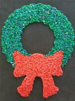 CHRISTMAS WREATH DECORATION VINTAGE DOOR GREETER MELTED PLASTIC POPCORN