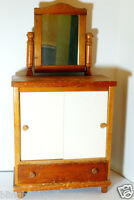 Doll Dresser Toy Wardrobe mirror drawer Vintage Furniture
