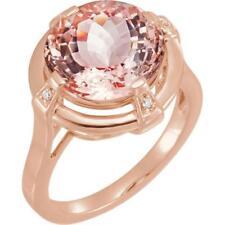 14k Rose Gold 5.275 CTW Morganite and Diamond Ring