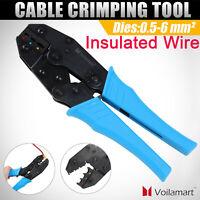 "9"" Ratchet Crimper Cable Wire Terminals Electrical Plier Crimping Tool Set Kit"