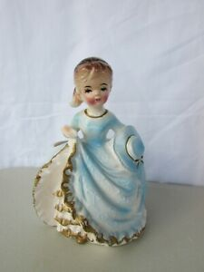 Vintage Giftwares Co NANCY PEW Cute Girl in Blue Dress Planter Figurine