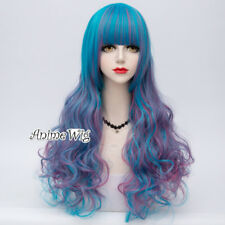 70cm Lolita Blue Mixed Purple Long Curly Gothic Cosplay Wig Heat Resistant Bang