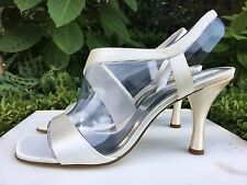 "+ 7.5M ELEMENTS by NINA Satin Open Toe 3"" High Heel Sandals Shoes Heeled Pumps +"
