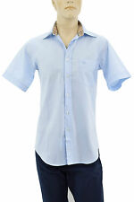 $185 BURBERRY London Blue Casual Dress Mens SHORT SLEEVE Shirt S NEW COLLECTION