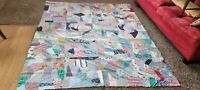 "Antique Vintage early 1900s Crazy Quilt Top 72 "" x 90"" Handmade"