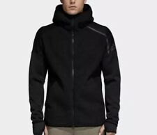 Adidas Mens Jacket Solid Black Size S Full-Zip Fleece Hooded NWT $140 DM7756
