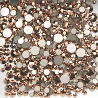 Swarovski Crystals ROSE GOLD non hotfix flat back stones for nail art design