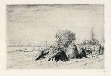 Peter Von Halm Signed Etching of Haystacks