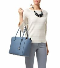 Michael Kors mercer denim blue leather satchel Zip top Tote Shoulder Handbag New