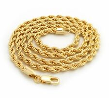"Mens 14K Yellow Gold Plated Rope Chain Necklace 2.5mm 3mm 4mm 18"" 20"" 24"" 30"""