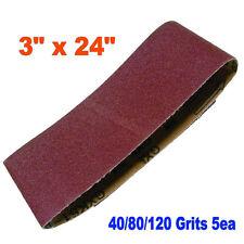 "15x Mix 3"" x 24"" Sanding Belts Aluminium Oxide 40/80/120 Grits Sander Abrasive"