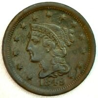 1849 Braided Hair US One Cent Penny Coin 1c Copper Coin XF Extra Fine Large Cent