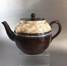Sadler 7-8 Cup England Antique Mottled Blue Stripped Brown Betty Teapot Pottery