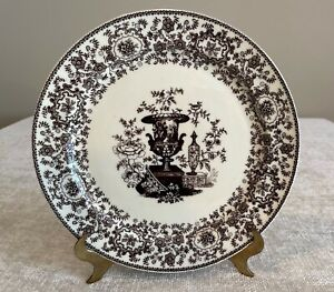 """Two's Company Brown Transferware Floral with Urn Wall Dinner Plate 9.5"""""""