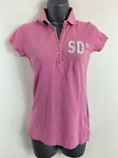 WOMEN SUPERDRY PINK SHORT SLEEVED EMBROIDER CASUAL POLO SHIRT TOP SIZE XS SMALL
