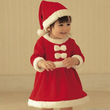 Sale Toddler Baby Girls Christmas Claus Santa Dress + Hat Outfit Costume Clothes
