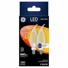 GE Soft White Candelabra 40W LED Light Bulbs Decorative Clear Bent Tip 2-Pack