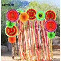 12x Paper Fan Flowers Tissue Mexican Fiesta Wedding Birthday Party Hanging Decor