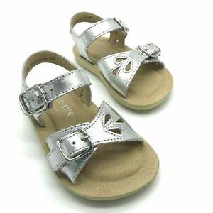 Start-rite Soft Harper Silver Girls Leather Buckle Sandals
