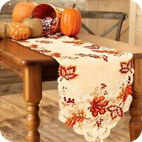 Embroidered Maple Leaves Table Runner Handmade Table Cover Fall Party Decor