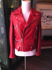 Saint Laurent S  Red Calf Biker Jacket Unworn Condition Fab!! F38 (small)