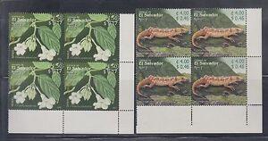 El Salvador 2003 America Reptiles Sc 1594-1595 Blocks Mint Never Hinged